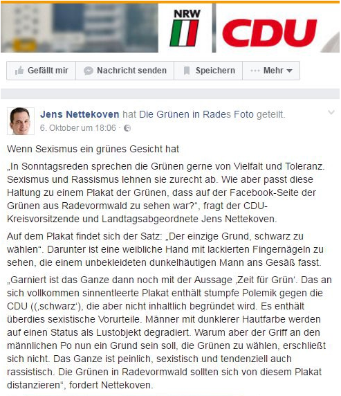 Der Kommentar von Nettekoven auf seiner Facebook-Seite